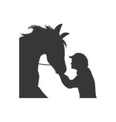 Horse animal ridding silhouette sport hobby icon vector