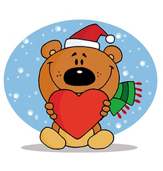 Tender christmas bear vector