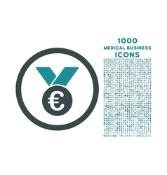 Euro prize medal rounded icon with 1000 bonus vector