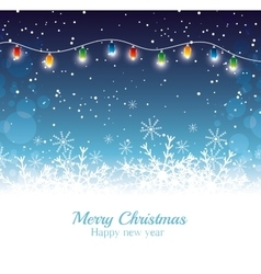 Merry christmas happy new year card garland lights vector