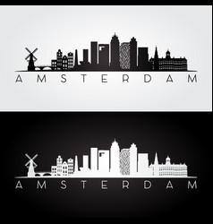 Amsterdam skyline and landmarks silhouette vector