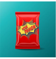 Foil food snack pack for biscuit wafer crackers vector