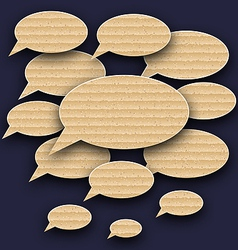 Set speech bubbles made in carton texture vector