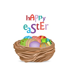 Happy easter with basket of eggs vector