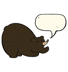 Cartoon stretching black bear with speech bubble vector