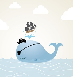 Pirate whale cartoon vector