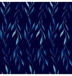 Watercolor seamless pattern of blue leaves on a vector