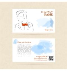 Horizontal business card man in orange bow tie vector