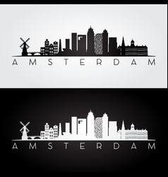 Amsterdam skyline and landmarks silhouette vector
