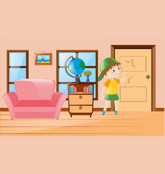 Boy inside the room knocking on door vector