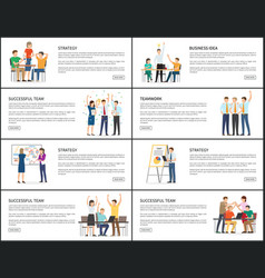 Business idea strategy successful teamwork banners vector