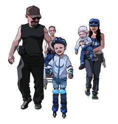 Cartoon men and women with children vector