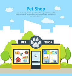 cartoon pet shop building card poster vector image vector image