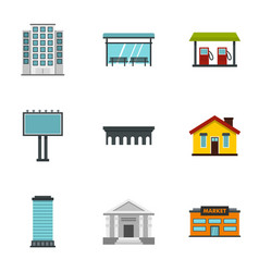 city buildings icons set flat style vector image vector image