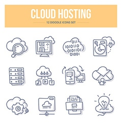 Cloud Hosting Doodle Icons vector image vector image