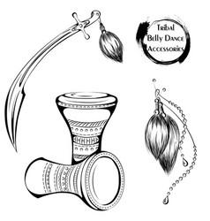 Dance line tribal belly dance accessories vector
