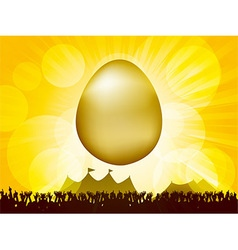 Easter golden egg and crowd vector image