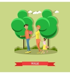 Family in park concept banner people vector