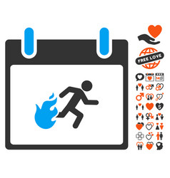 Fire evacuation man calendar day icon with dating vector