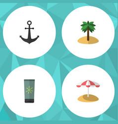 flat icon season set of moisturizer parasol vector image vector image