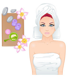 girl on spa treatments vector image vector image