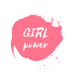 girl power hand drawn letteringe badge vector image