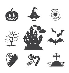 Halloween black icons vector