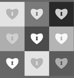 heart with lock sign grayscale version of vector image vector image