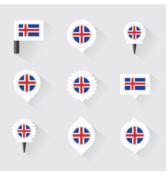 Iceland flag and pins for infographic and map vector