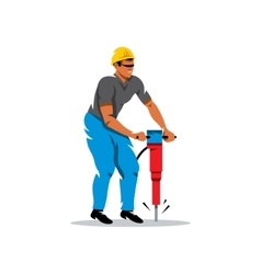 Man with Jackhammer Cartoon vector image