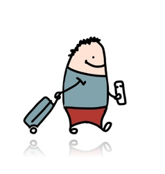 Man with suitcase and ticket cartoon vector image vector image