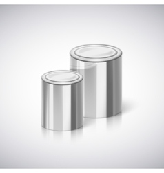 Metal cans with reflection and shadow vector