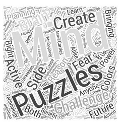 Mind puzzles for future planning word cloud vector