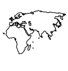 outline map european african and asian continent vector image