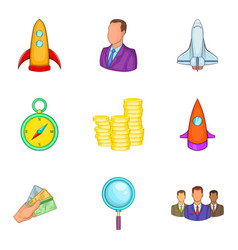 Project start icons set cartoon style vector