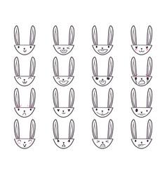Rabbit handdrawn emoticons 4 vector
