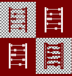 Retro abacus sign bordo and white icons vector