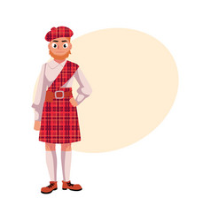 Scottish man in national clothes red tartan beret vector