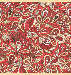 Seamless pattern ethnic floral rosy and brown vector