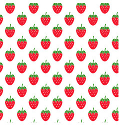 seamless pattern with strawberries on white vector image vector image
