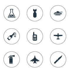 set of 9 simple military icons can be found such vector image vector image