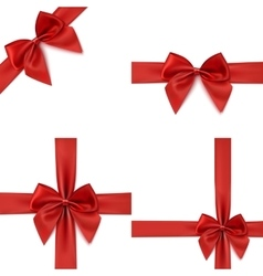 Set of four red bows and ribbons vector image vector image