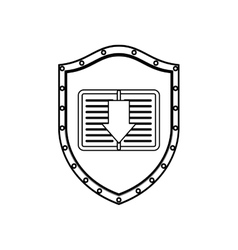 Silhouette shield with notebook and arrow vector
