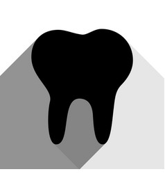 tooth sign black icon with vector image