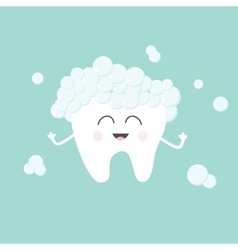 Tooth with toothpaste bubbles foam cute funny vector