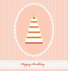 Vintage Birthday greeting card with funny cupcake vector image