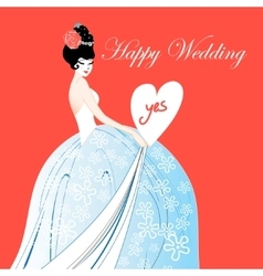 Wedding card with a lovely bride vector image vector image
