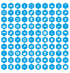 100 meat icons set blue vector