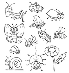 Coloring book with insects vector