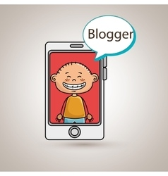 Boy cellphone blogger web vector